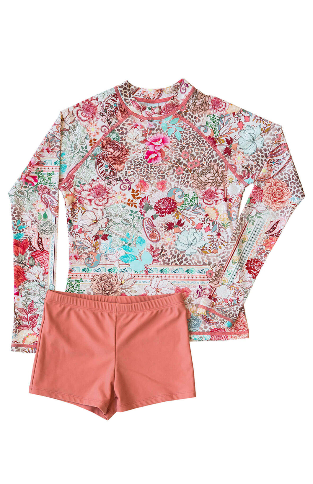 Ellenny Swim Girls Long Sleeve Sun Set Wildflowers Flatlay