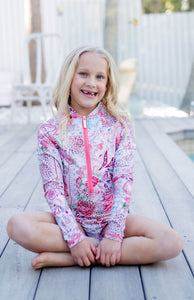 Ellenny Swim Girls Long Sleeve Sun Suit Wildflowers