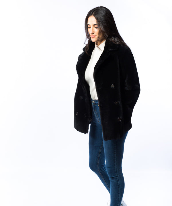 Abrigo mouton reversible peacoat
