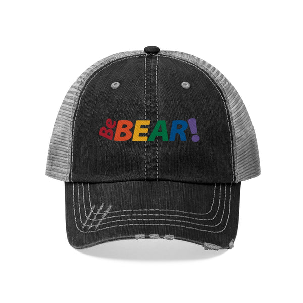 Be Bear! all gender Trucker Hat embroidered rainbow