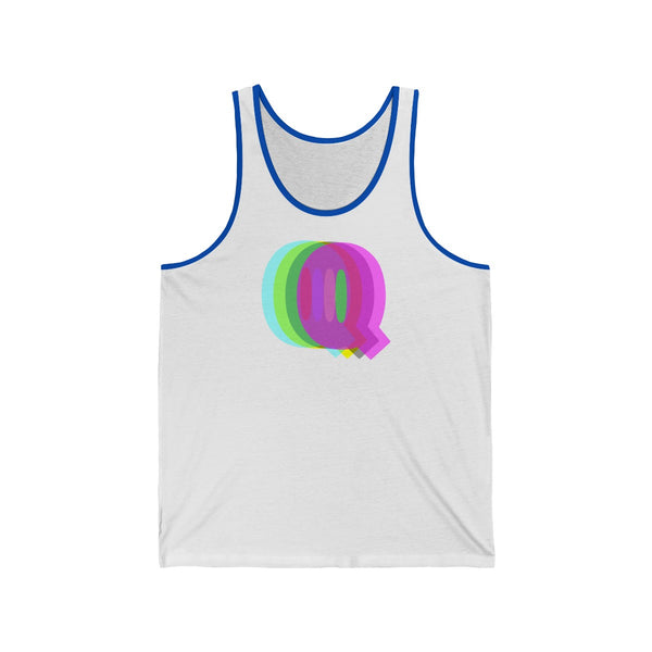 """Q is for queer"" all gender Jersey Tank"