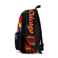 Chicago Pride Backpack (Made in USA) rainbow print.