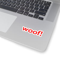 woof! red and white Kiss-Cut Stickers 4 sizes