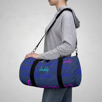 custom daddy Duffle Bag blue on blue daddy script grid with pops of color