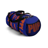 "custom puppy Duffle Bag ""PUP"" dark blue and dark orange version three"