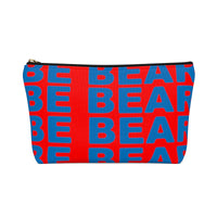 """be bear"" Accessory Pouch w T-bottom (red and blue graphic)"