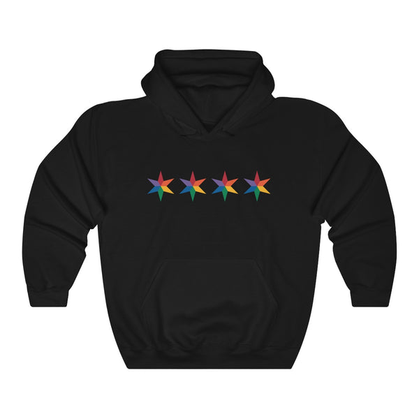 Chicago 4 star rainbow pride all gender Heavy Blend™ Hooded Sweatshirt