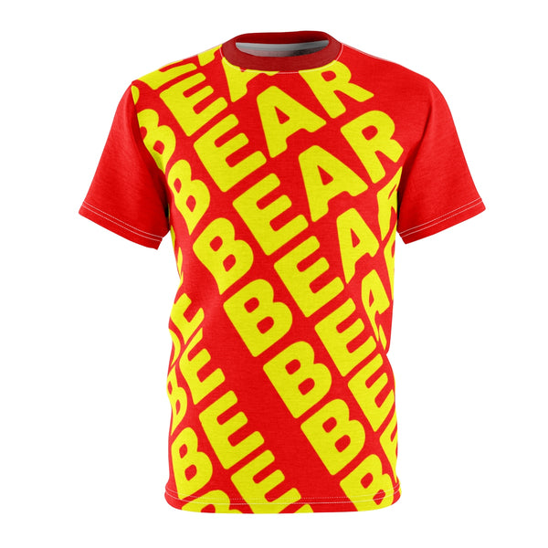 """BE BEAR"" All Over Print Tee (red and yellow)"