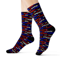 Copy of Copy of Copy of Copy of pup puppy pupper woof Sublimation Socks red white blue and black