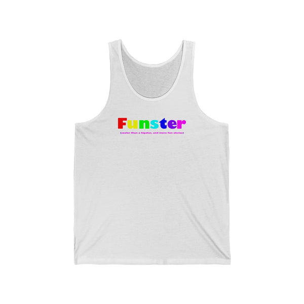 Funster all gender Jersey Tank funty rainbow graphic tank