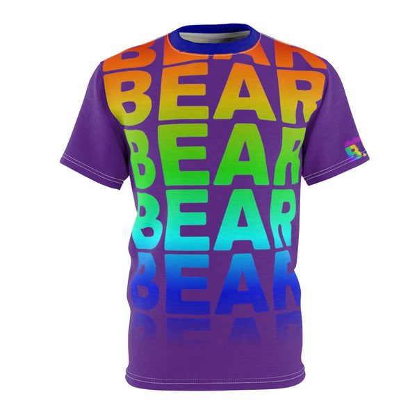 """BE BEAR"" BEAR All Over Print Tee (rainbow on purple)"