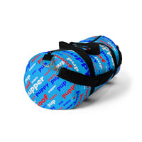 Pup puppy pupper woof Duffle Bag red white blue and light blue