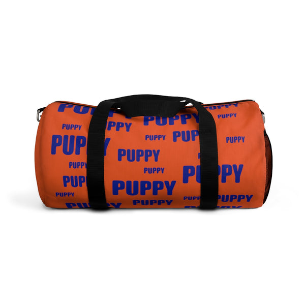 custom puppy duffle bag dark blue and orange version 2
