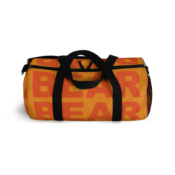 """be bear"" bear Duffle / gym Bag (orange and orange yellow graphic)"