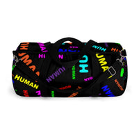 """be human"" human Duffle Bag (bright rainbow and black all over print)"