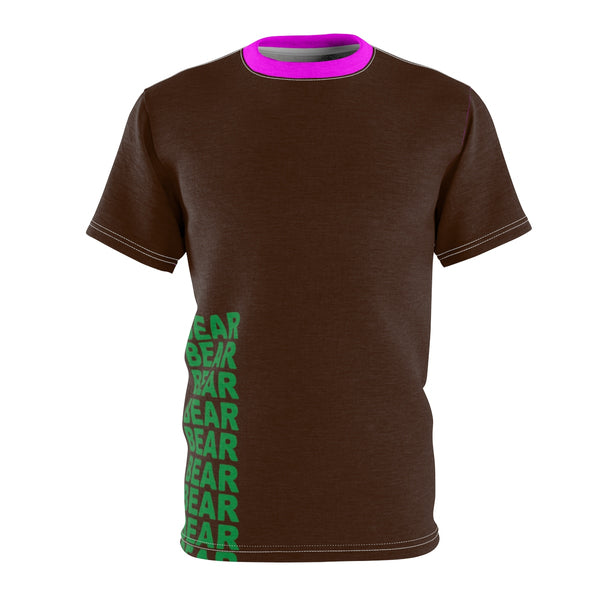 """BE BEAR"" All Over Print Tee (Brown pink green yassss)"