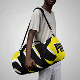 PUP custom Duffle Bag over sized black and white on yellow graphic