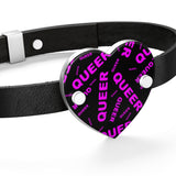 """be queer"" queer Leather Bracelet (black and pink all over print)"