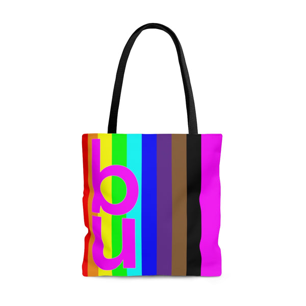 be you candy stripe rainbow tote