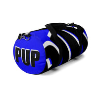 PUP custom Duffle Bag over sized black and white on blue graphic