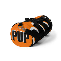 PUP custom Duffle Bag over sized black and white on orange graphic