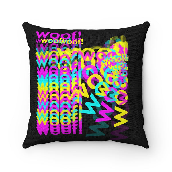 woof! cmyk Spun Polyester Square Pillow