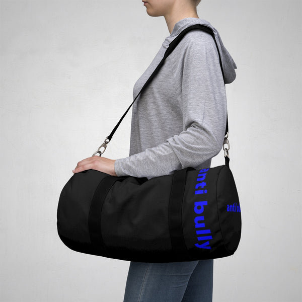 """anti bully"" Duffle Bag (blue and black all over graphic)"