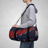 custom wolf pup hybrid Arooo! Duffle Bag crimson dark grey navy hued dark grey