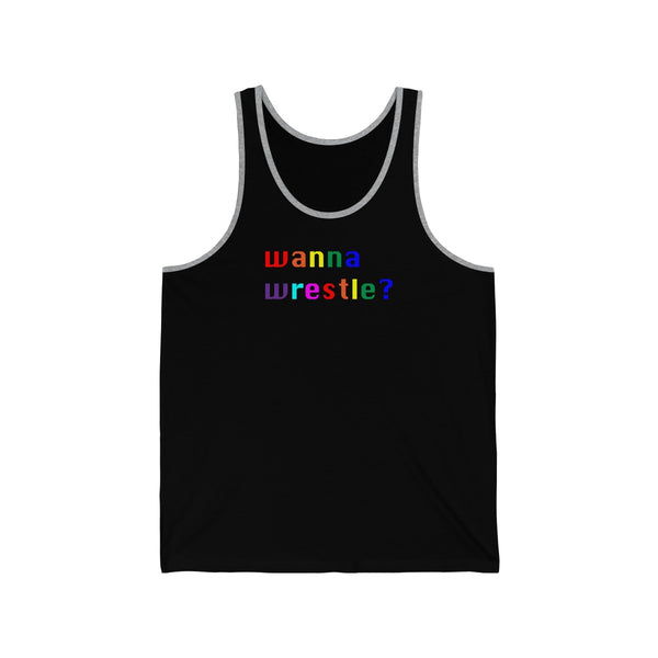 wanna wrestle? all gender Jersey Tank