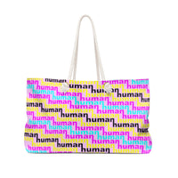 human just like you cmyk on pink Weekender Bag