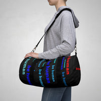 """be human"" Duffle / gym Bag (blues with red all over graphic)"