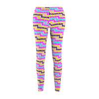 human just like you cmyk on pink Women's Cut & Sew Casual Leggings