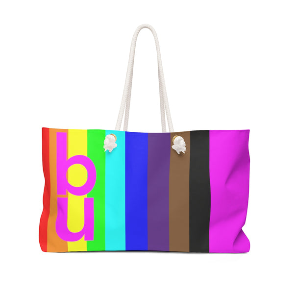 be you candy stripe rainbow Weekender Bag