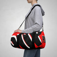 PUP custom Duffle Bag over sized black and white on red graphic