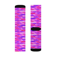 Copy of pup puppy pupper woof Sublimation Socks red white blue and pink