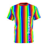 be human candy stripe rainbow all over print tee