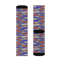 Copy of Copy of Copy of pup puppy pupper woof Sublimation Socks red white blue and grey