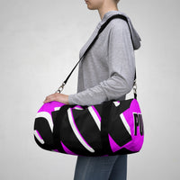 PUP custom Duffle Bag over sized black and white on pink graphic