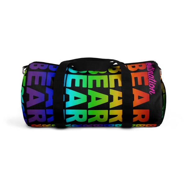 """destination bear"" Duffle / gym Bag (rainbow graphic)"