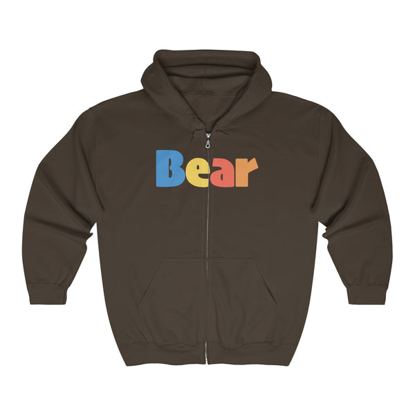 """summer bear"" all gender Heavy Blend™ Full Zip Hooded Sweatshirt up to 5XL"