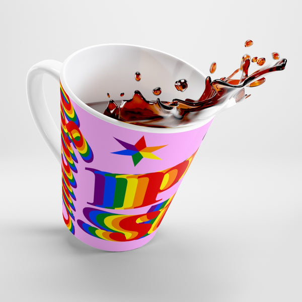 Chicago pride stan Latte mug rainbow print.