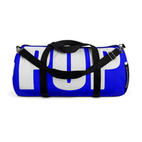 "custom puppy Duffle Bag ""PUP"" blue and white version four"