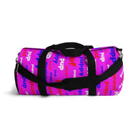 Pup puppy pupper woof custom Duffle Bag red white blue and pink