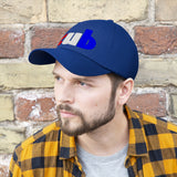 embroidered CUB Unisex Twill Hat red white and blue