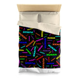 """be human"" human Microfiber Duvet Cover (bright rainbow and black all over print)"