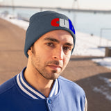 embroidered cub Knit Beanie red white and blue