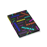 """be human"" human Journal - Blank (bright rainbow and black all over print)"