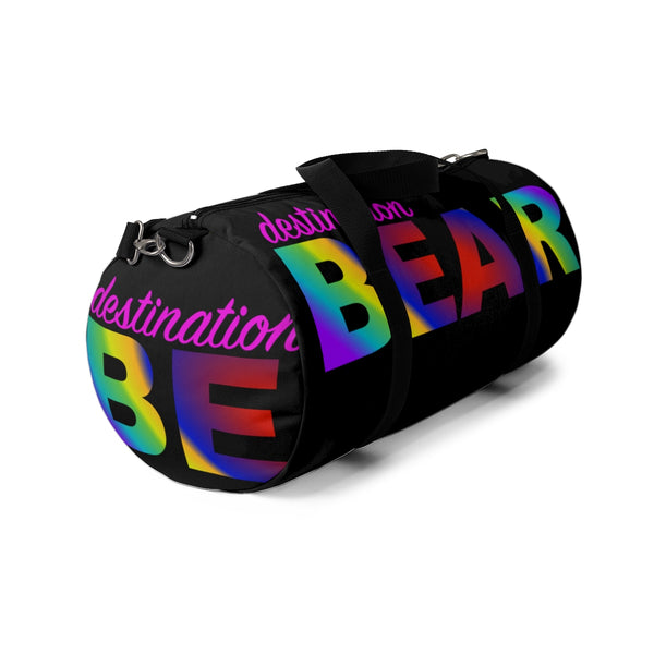 """destination bear"" Duffle Bag (radial rainbow graphic)"