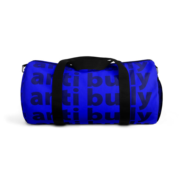 """be anti bully"" anti bully Duffle Bag (black and blue all over graphic)"