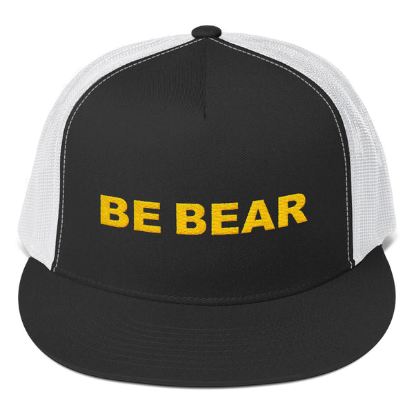 """be bear"" Trucker Cap (bright gold embroidery)"